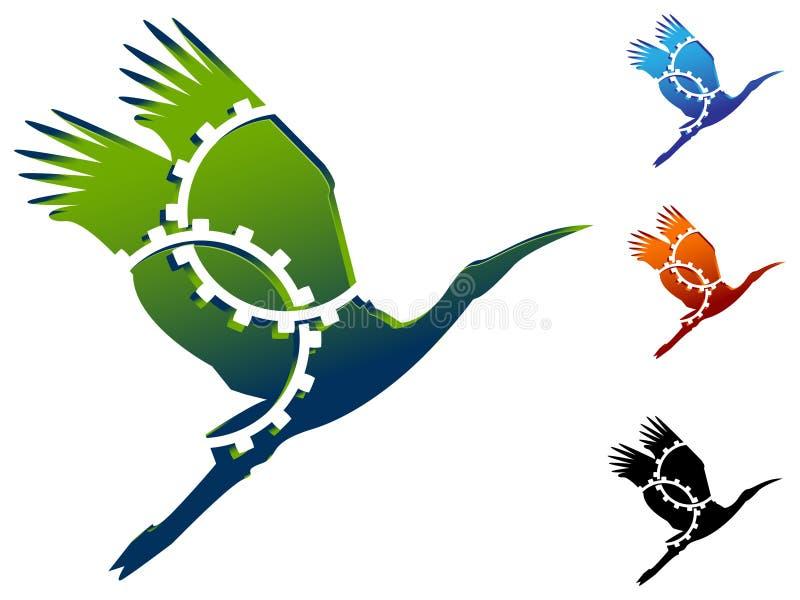 Pássaros com engrenagens ilustração royalty free