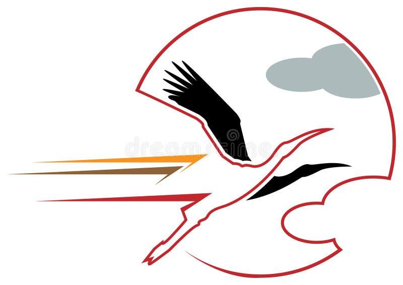 Pássaros com sol ilustração do vetor
