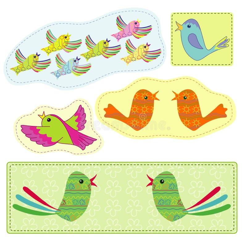 Pássaros Conventionalized ilustração royalty free