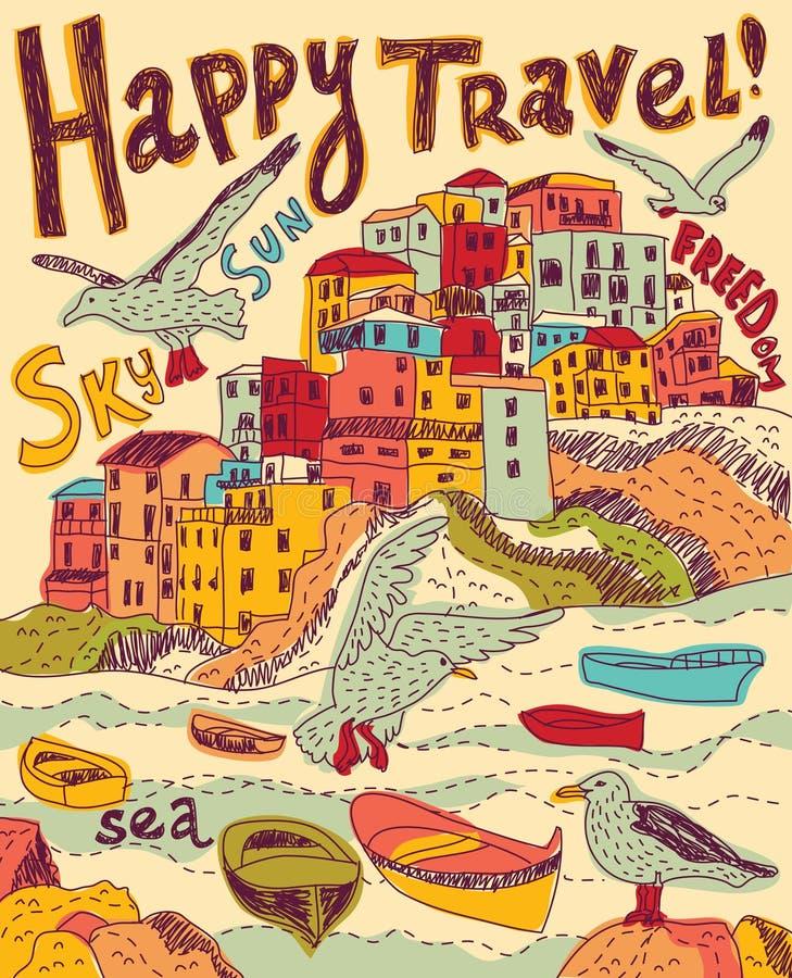 Pássaros da cidade do mar do curso ilustração do vetor