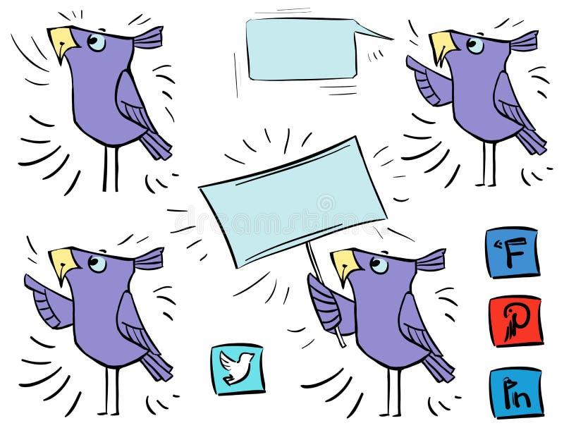 Pássaros da garatuja - sinal - meios do social de uma comunicação do ícone ilustração do vetor