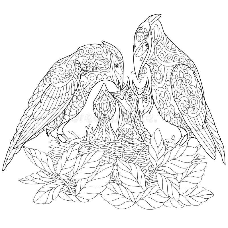 Pássaros da mola de Zentangle que colorem a página ilustração royalty free