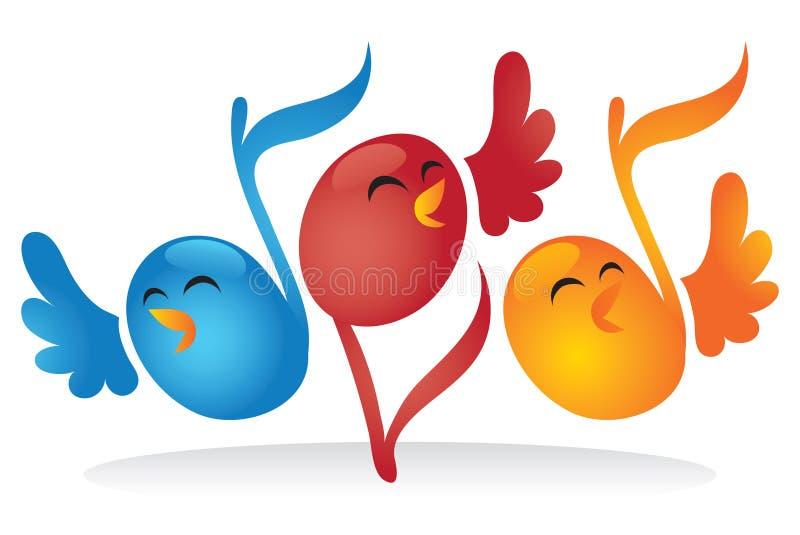 Pássaros da nota musical do canto ilustração do vetor