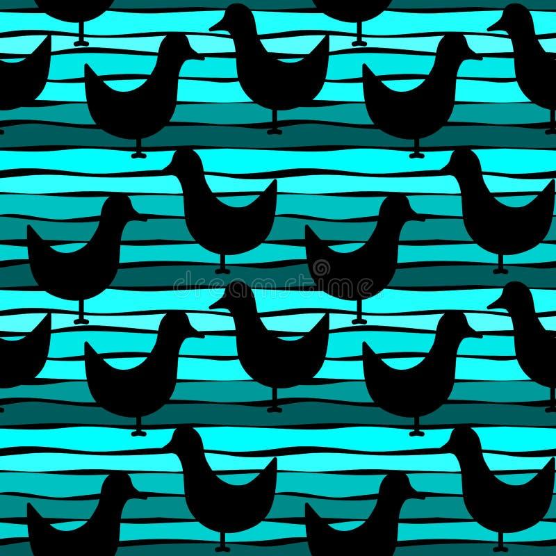 Pássaros da silhueta no fundo sem emenda da água da reflexão ilustração do vetor