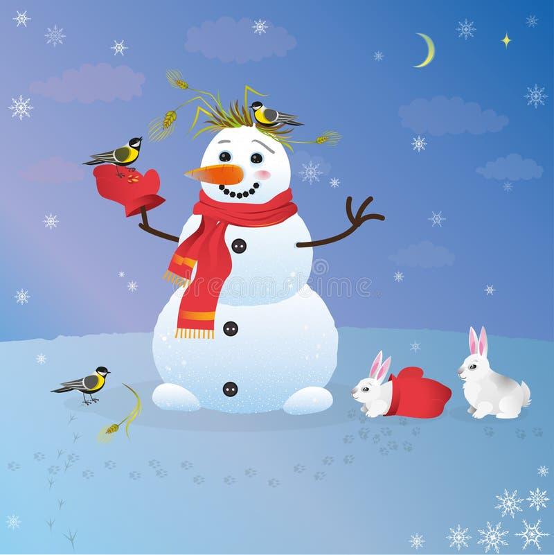Pássaros de alimentação e coelhos do boneco de neve amigável ilustração royalty free