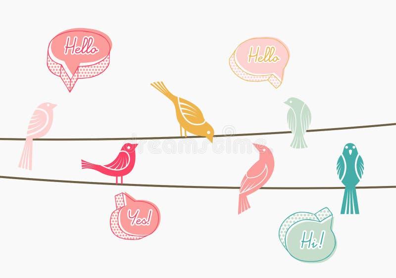 Pássaros de conversa em fios ilustração do vetor