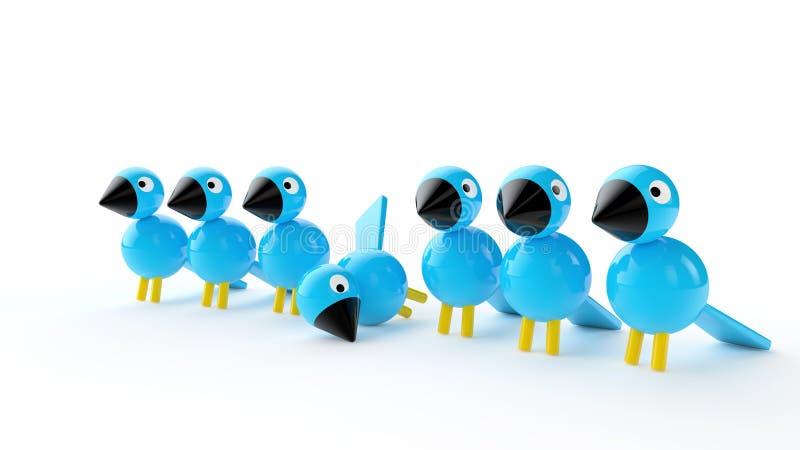 Pássaros de madeira azuis fotografia de stock