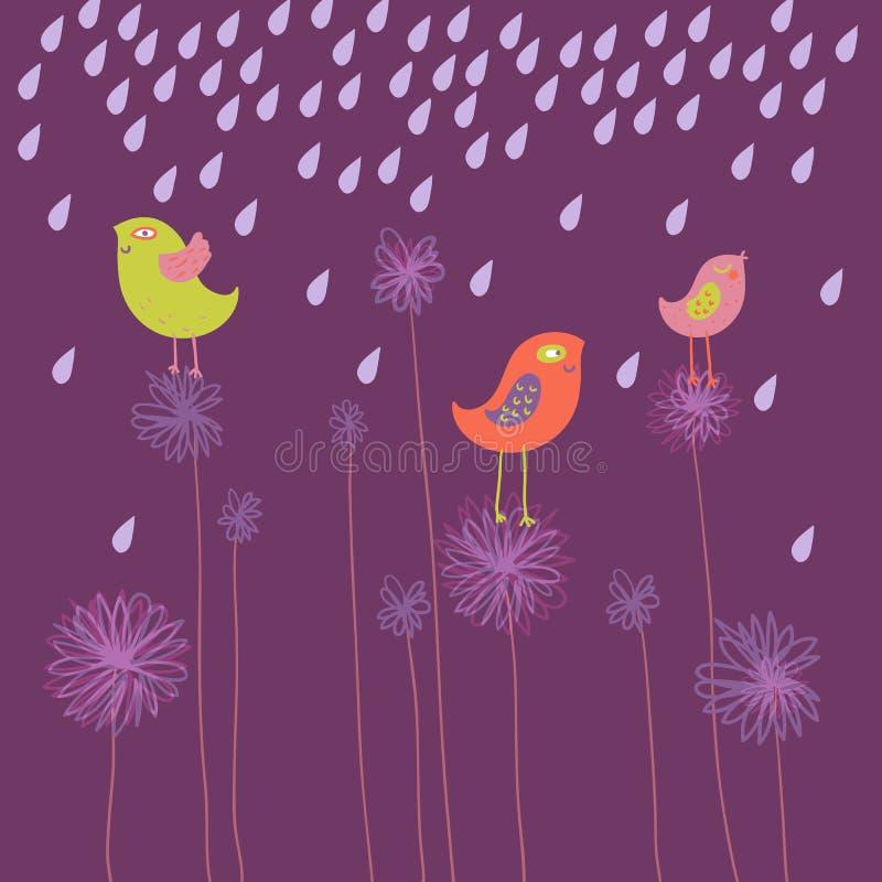 Pássaros de sorriso em flores ilustração stock