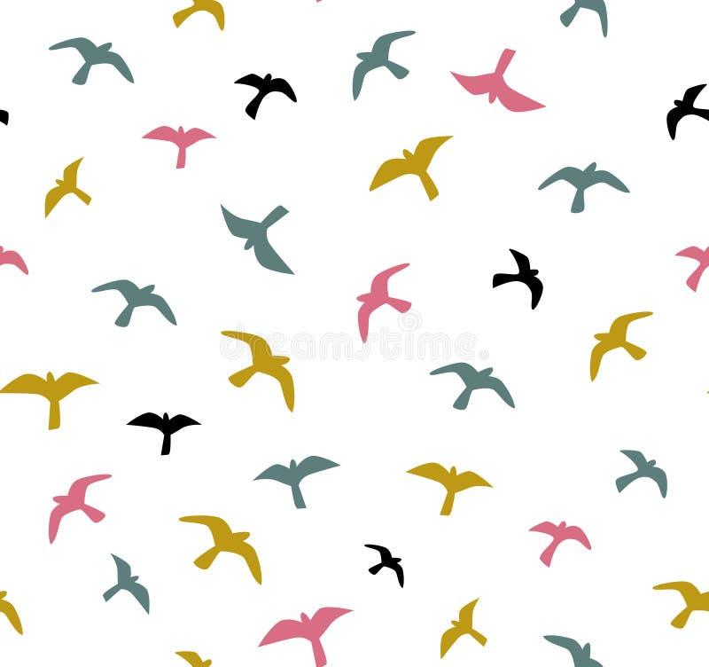 Pássaros de vôo sem emenda Vector o teste padrão sem emenda Fundo com gaivotas ilustração royalty free