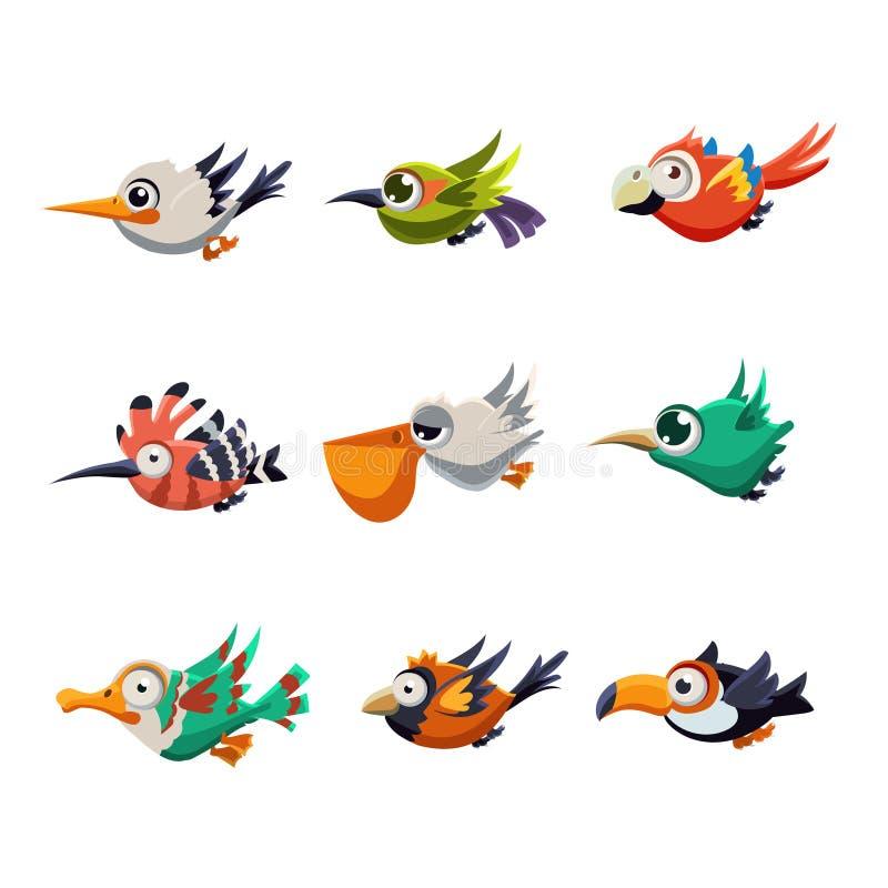 Pássaros de voo coloridos no vetor do perfil ilustração royalty free