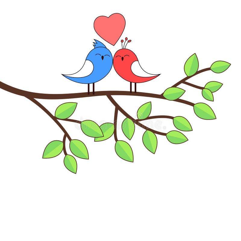 Pássaros do amor em um vidoeiro ilustração stock