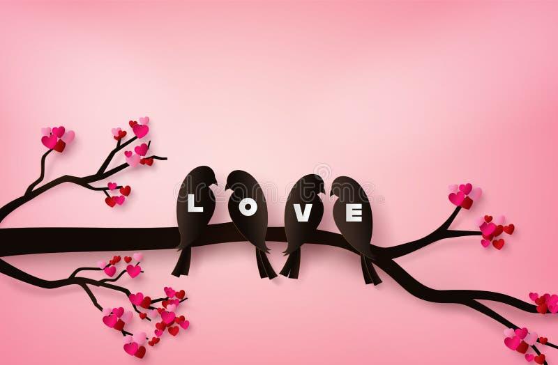 Pássaros do amor empoleirados em um ramo de uma árvore ilustração do vetor