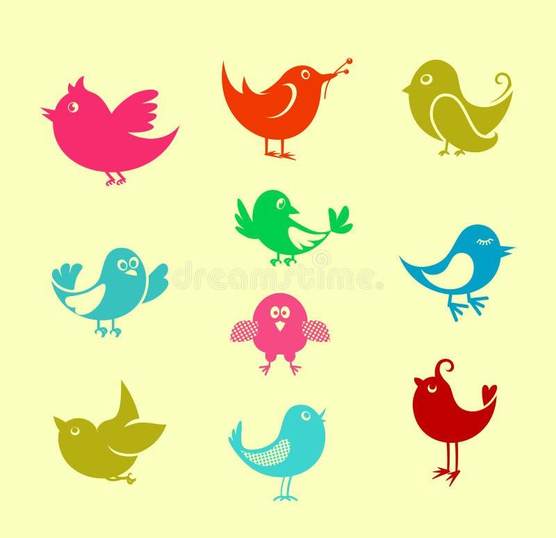 Pássaros do doodle dos desenhos animados ilustração stock
