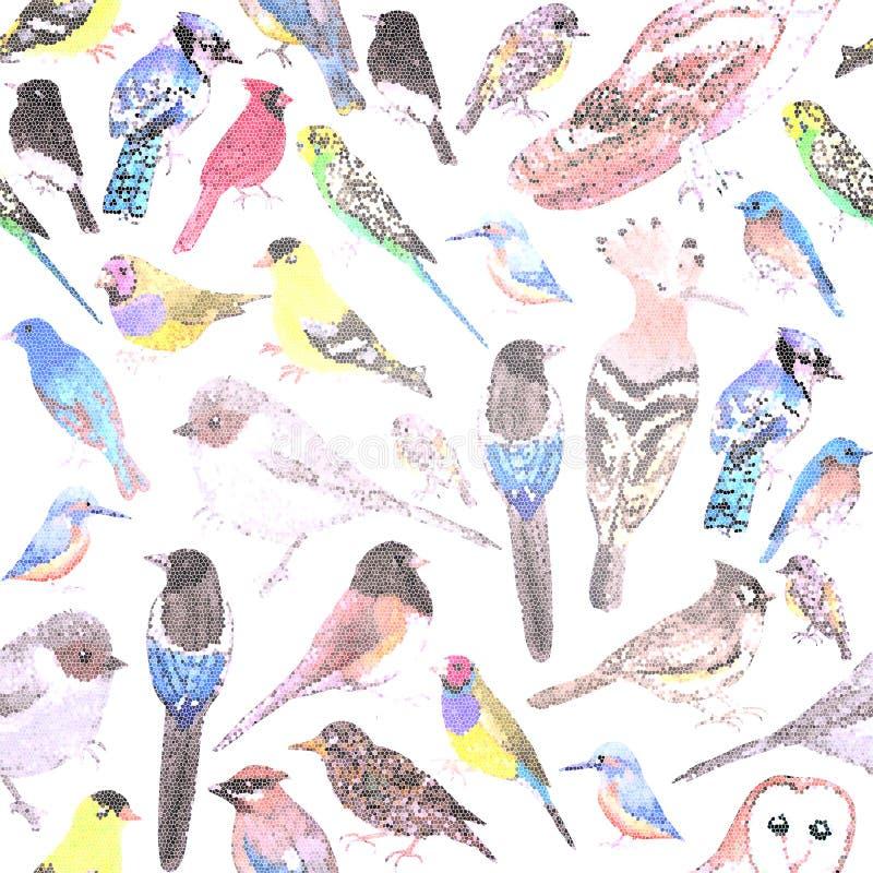 Pássaros do fundo sem emenda do mosaico dos animais de estimação de América e dos pássaros selvagens ilustração do vetor