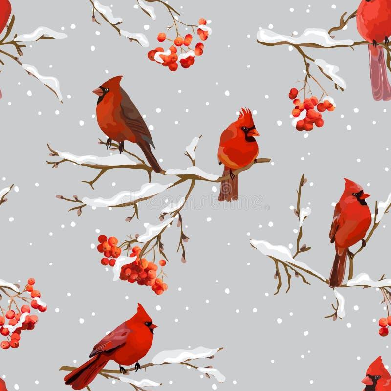 Pássaros do inverno com Rowan Berries Retro Background - teste padrão sem emenda ilustração royalty free