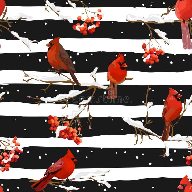 Pássaros do inverno com Rowan Berries Retro Background - teste padrão sem emenda ilustração do vetor