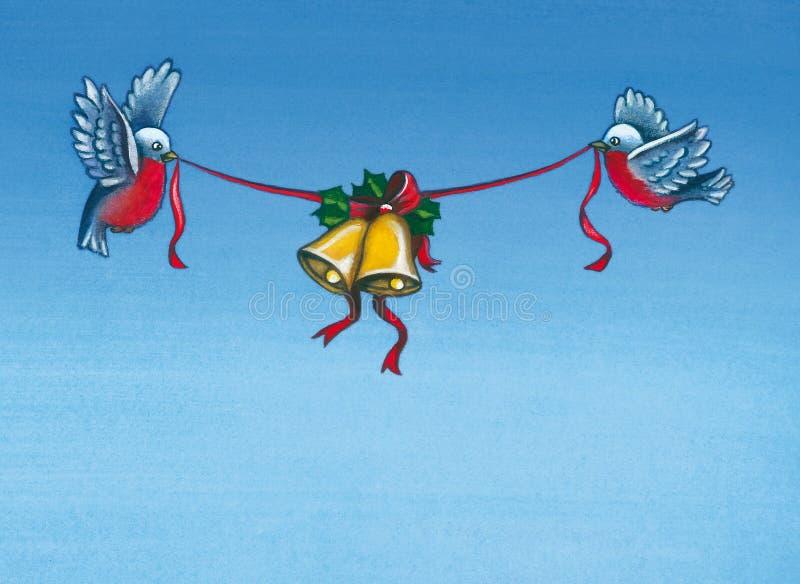 Pássaros do inverno do Natal ilustração do vetor