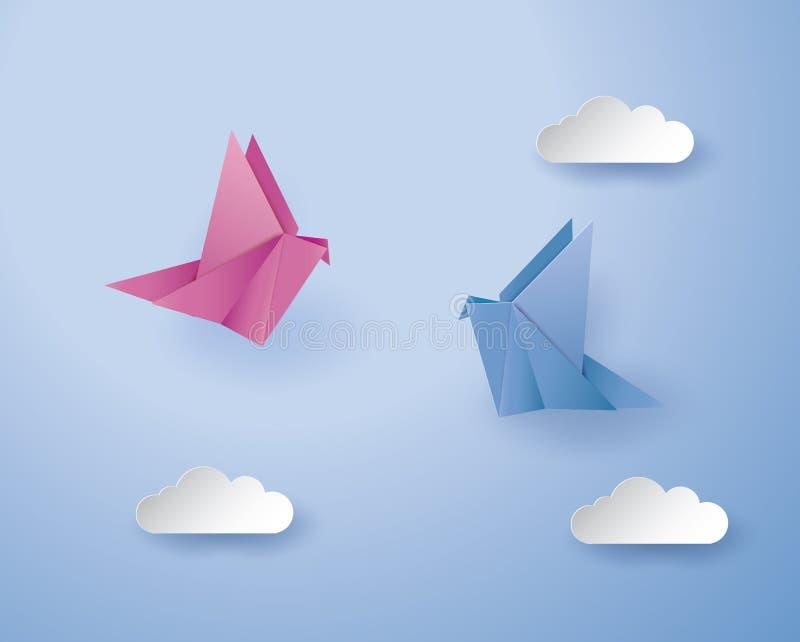 Pássaros do origâmi no fundo azul com nuvem ilustração do vetor