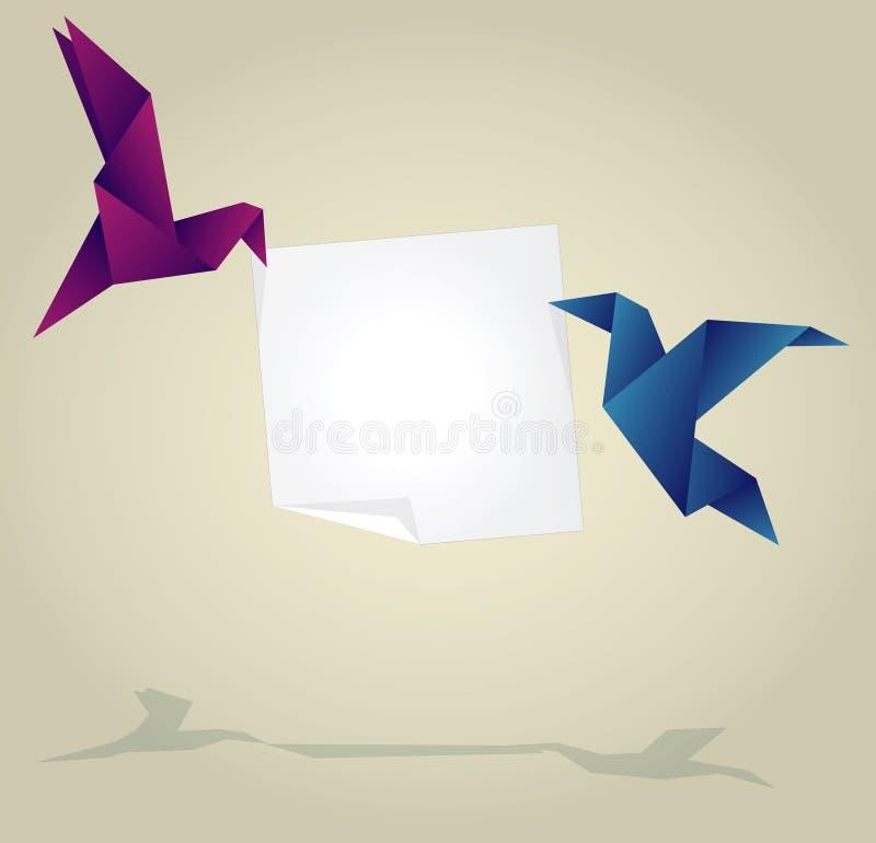 Pássaros do origâmi que guardam a bandeira de papel vazia ilustração stock