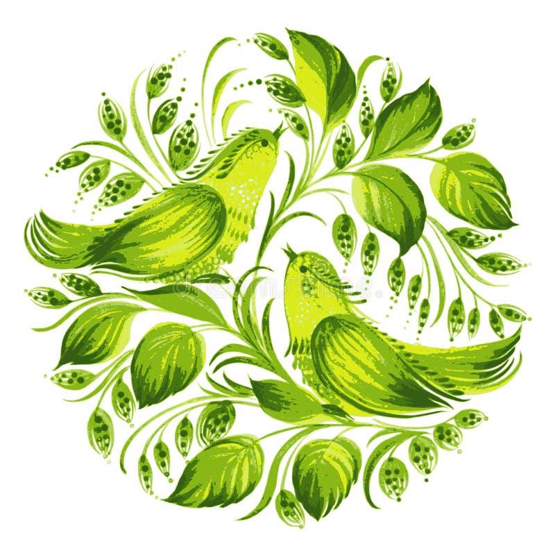 Pássaros do verde do círculo de paraíso decorativos ilustração stock