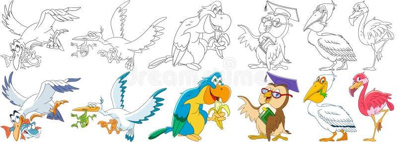 Pássaros dos desenhos animados ajustados ilustração royalty free