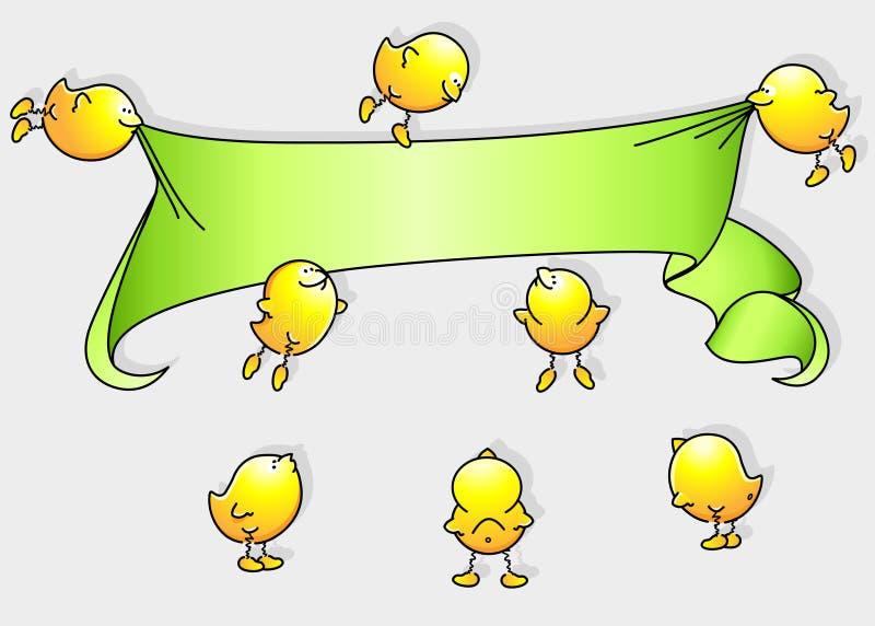 Pássaros dos desenhos animados com bandeira ilustração do vetor