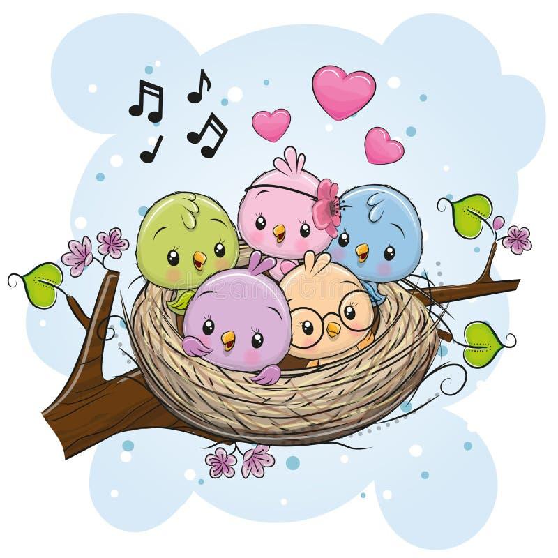 Pássaros dos desenhos animados em um ninho em um ramo