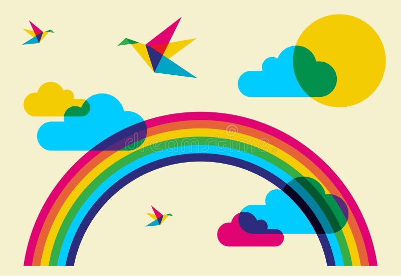 Pássaros e arco-íris coloridos do zumbido ilustração do vetor