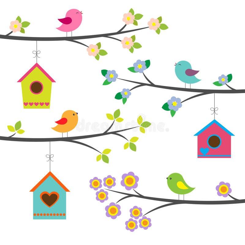 Pássaros e birdhouses ilustração do vetor