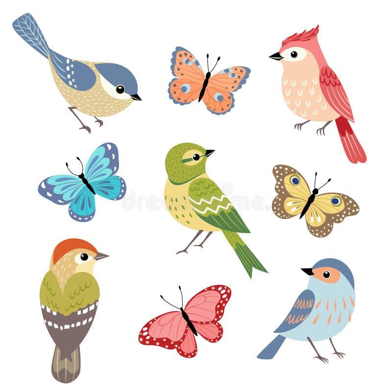 Pássaros e borboletas ilustração royalty free