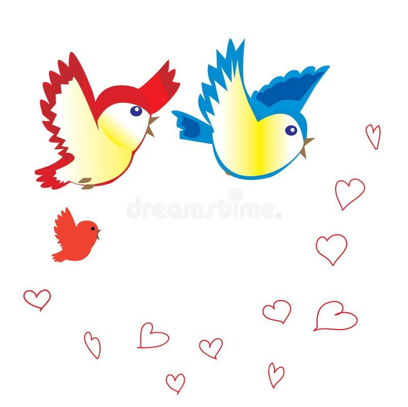 Pássaros e corações ilustração do vetor