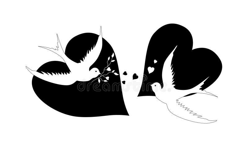 Pássaros e corações, preto e branco ilustração royalty free