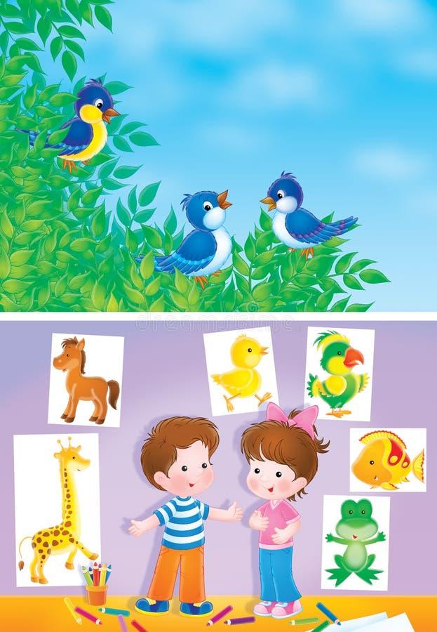 Pássaros e crianças ilustração do vetor