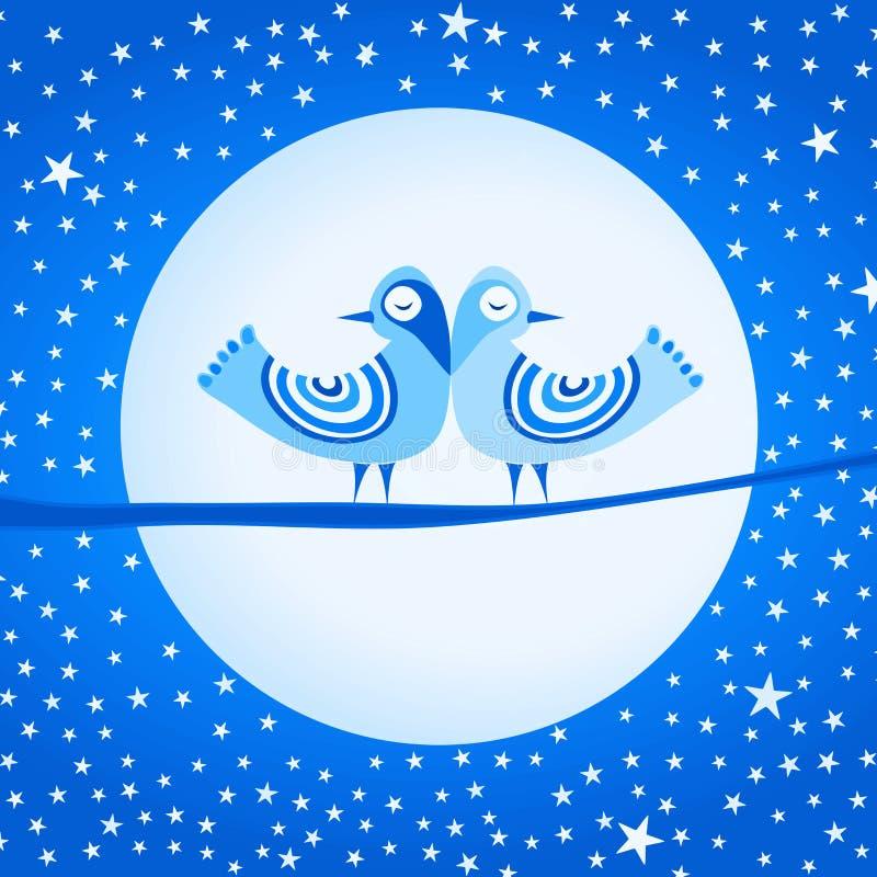 Pássaros e estrelas da lua do gelo ilustração royalty free
