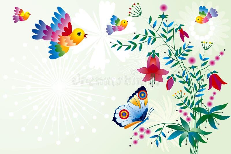 Pássaros e flores ilustração stock