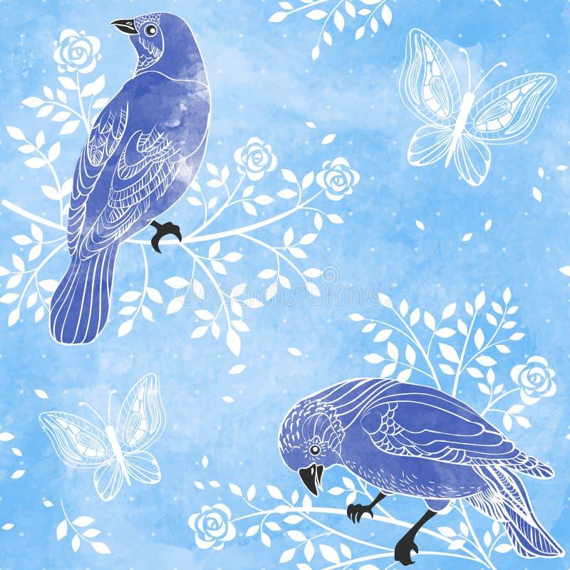 Pássaros e flores em um fundo da cor de água. Vetor tirado mão ilustração royalty free