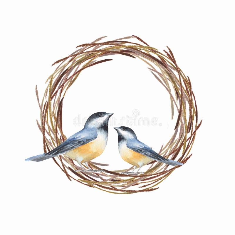 Pássaros e ilustração da aquarela do ninho ilustração do vetor