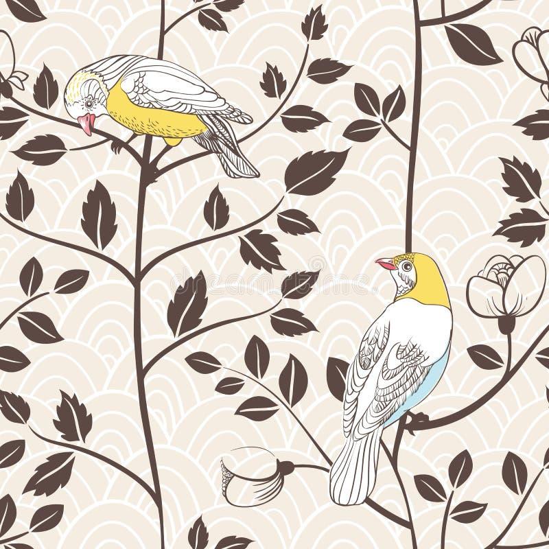 Pássaros e plantas de florescência. Teste padrão sem emenda ilustração royalty free