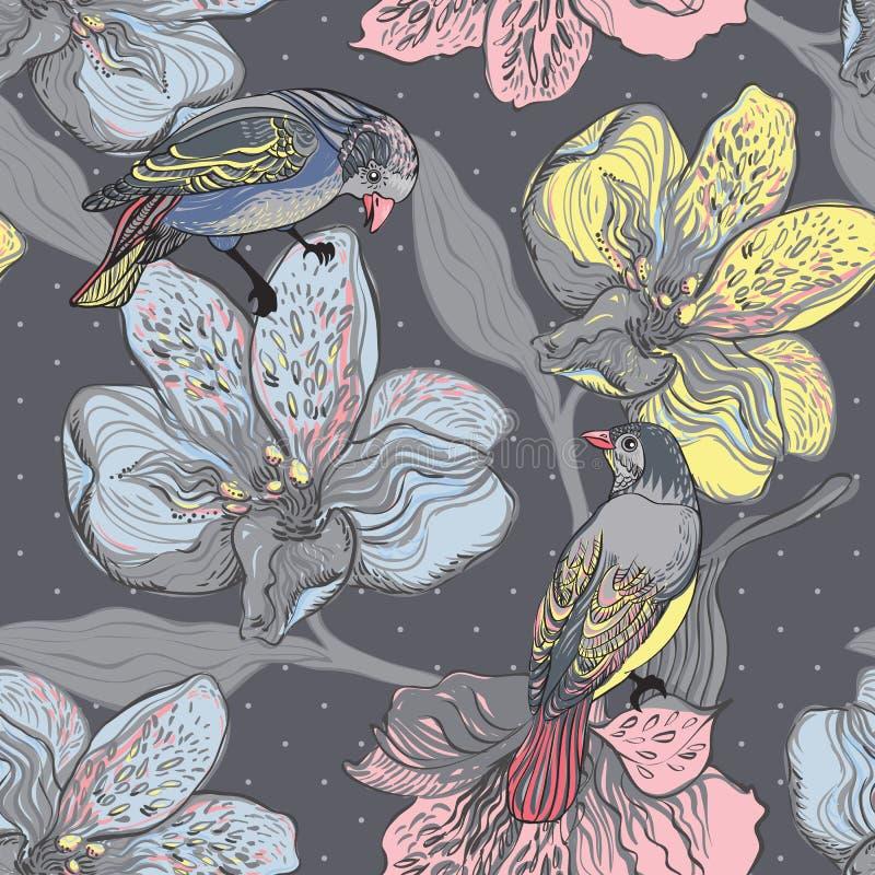 Pássaros e plantas de florescência. Teste padrão sem emenda ilustração stock