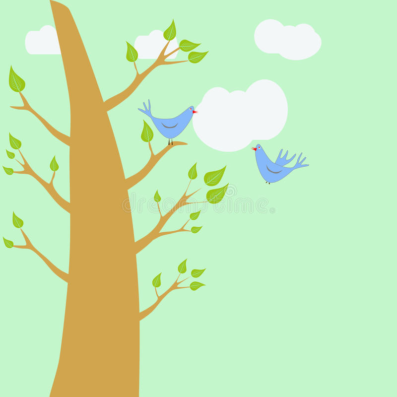 Pássaros e uma árvore ilustração royalty free