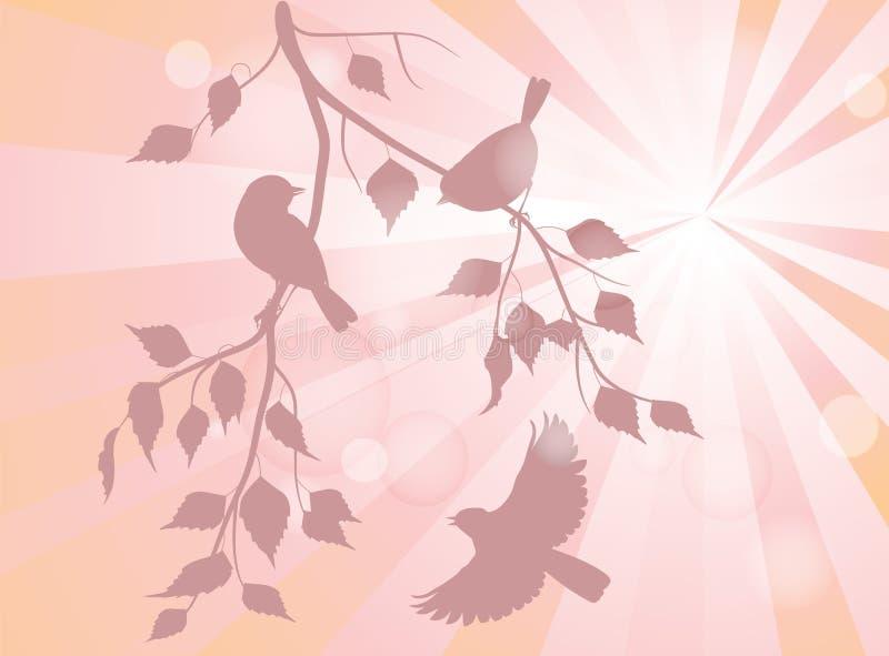 Pássaros em ramos ilustração stock