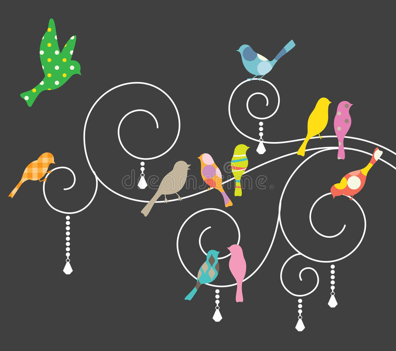 Pássaros em redemoinhos decorativos. ilustração royalty free
