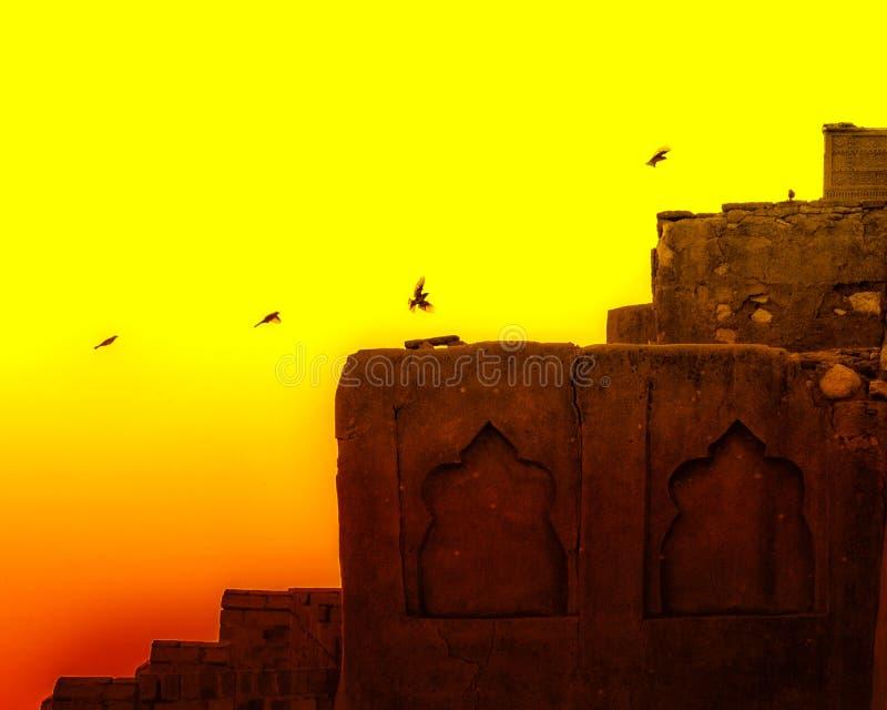 Pássaros em sete irmãs, Sukkur foto de stock