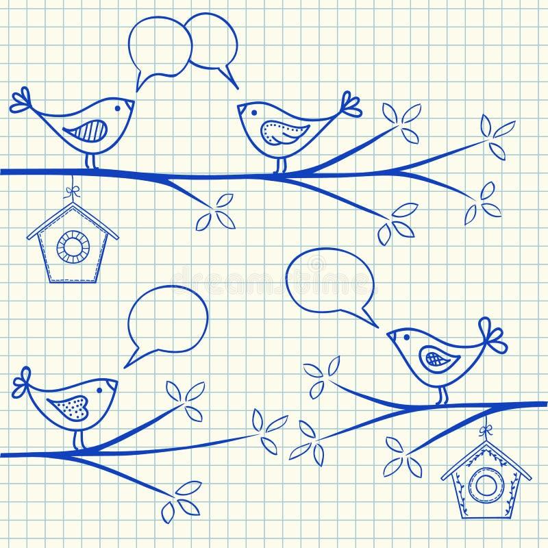 Pássaros em um desenho da árvore ilustração royalty free