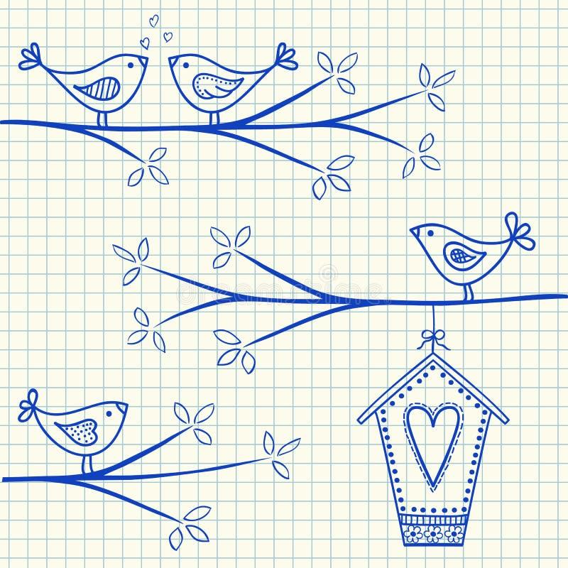 Pássaros em um desenho da árvore ilustração do vetor