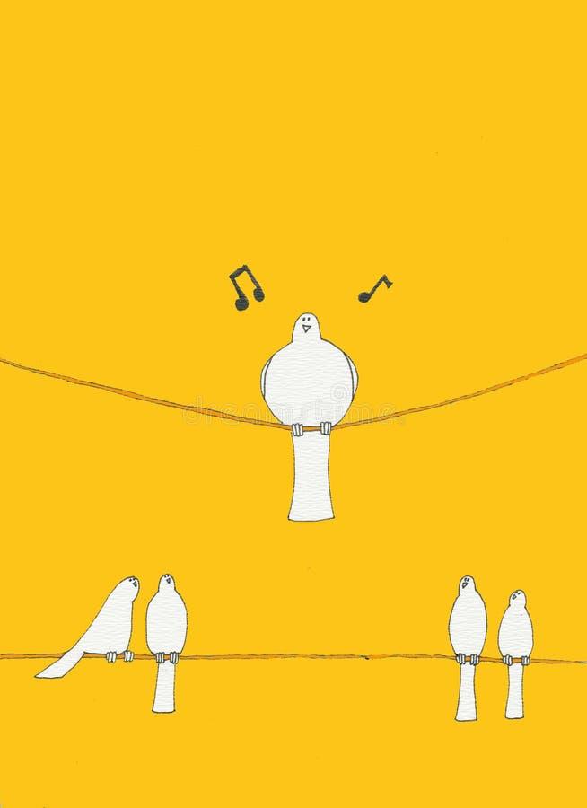 Pássaros em um fio ilustração stock