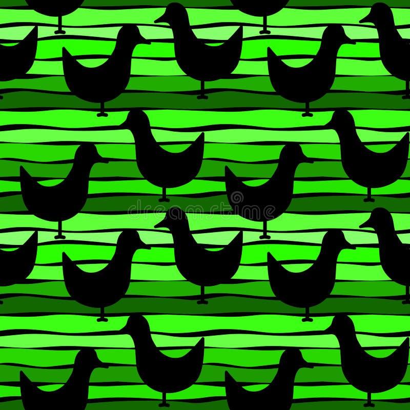 Pássaros em um fundo sem emenda verde listrado ilustração royalty free