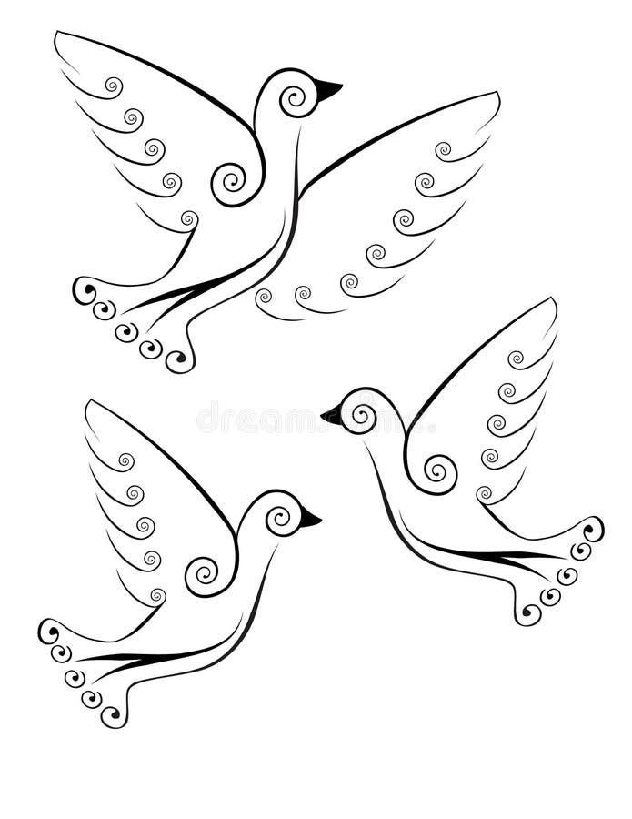 Pássaros estilizados ilustração stock