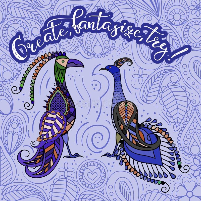 Pássaros fantásticos 2 ilustração royalty free
