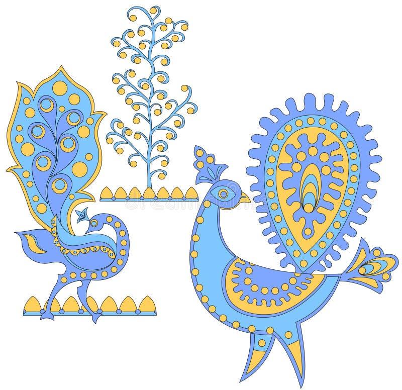Pássaros fantásticos azuis, vetor mim ilustração royalty free